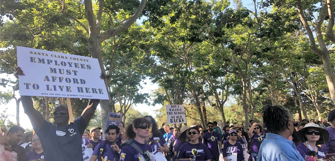Hundreds of union workers continue fight with Santa Clara County