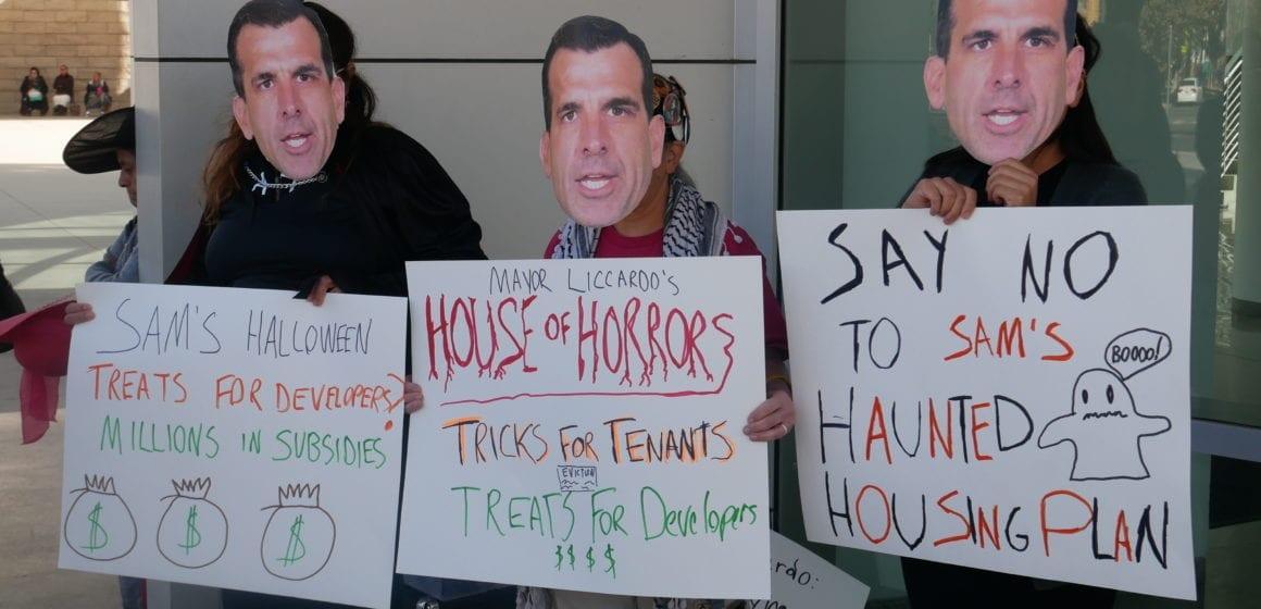 San Jose housing advocates stage Halloween protest to preserve Ellis Act