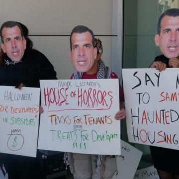 San Jose housing advocates stage Halloween protest to preserve Ellis Act