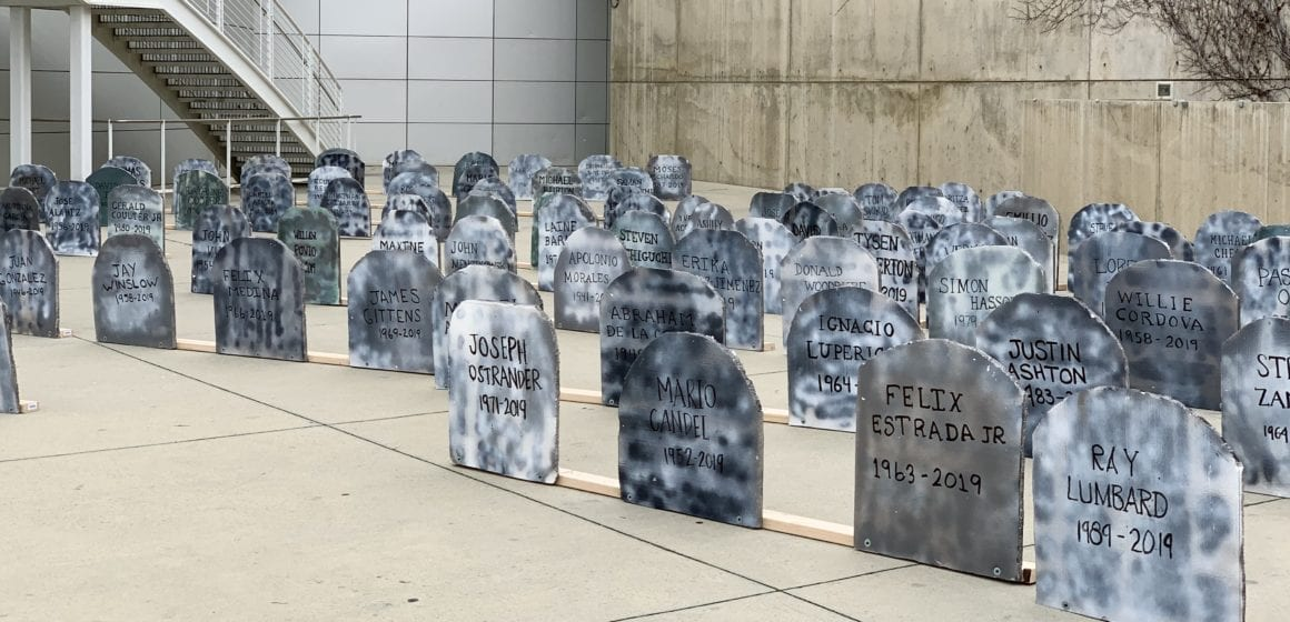 Tombstones at San Jose City Hall remember homeless deaths