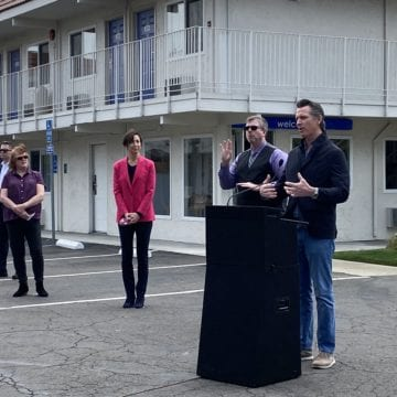 Gov. Newsom stops in Silicon Valley to announce motel rooms for homeless