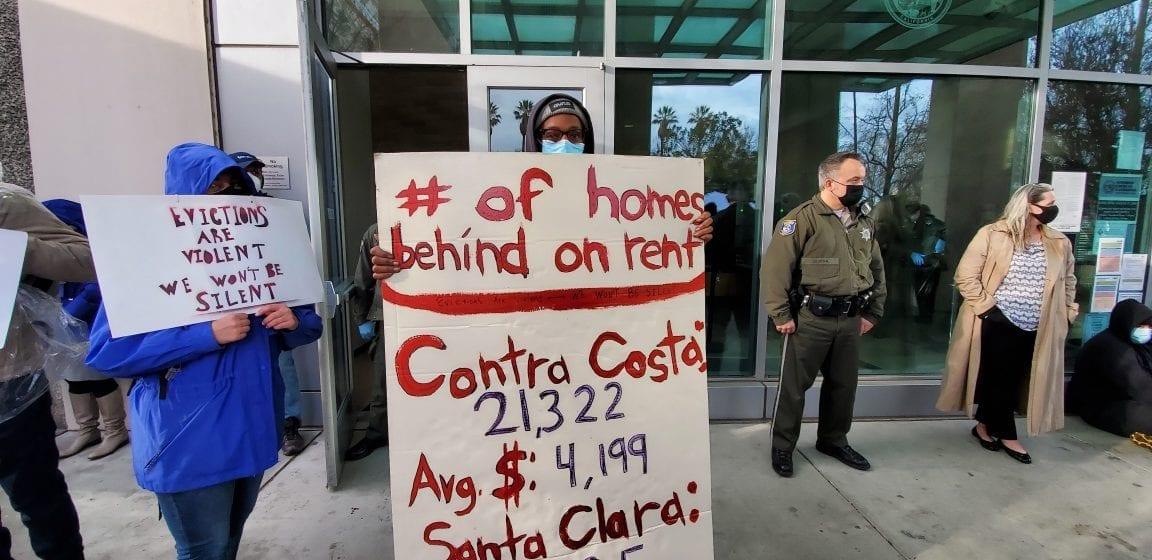 Tenants mount courthouse protest to end evictions in Santa Clara County