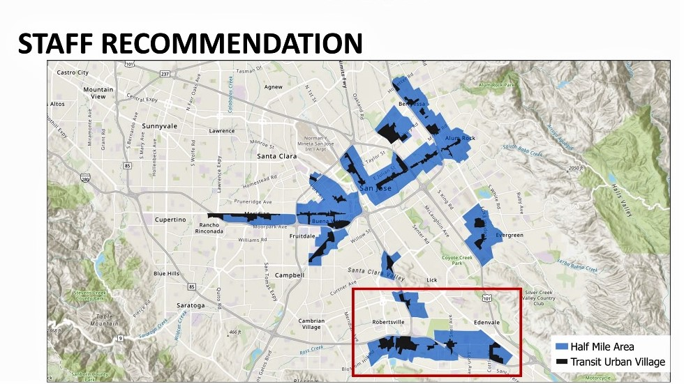 San Jose planning staff had originally recommended studying Opportunity Housing in areas close to transit stops. Image courtesy of City of San Jose.