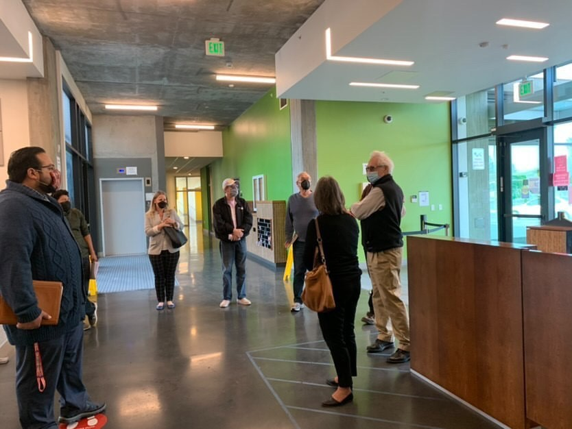 On April 12, the East San Jose Tenants Coalition toured Renascent Place with developer Charities Housing and property manager John Stewart Company. Photo courtesy of Peter Ortiz.
