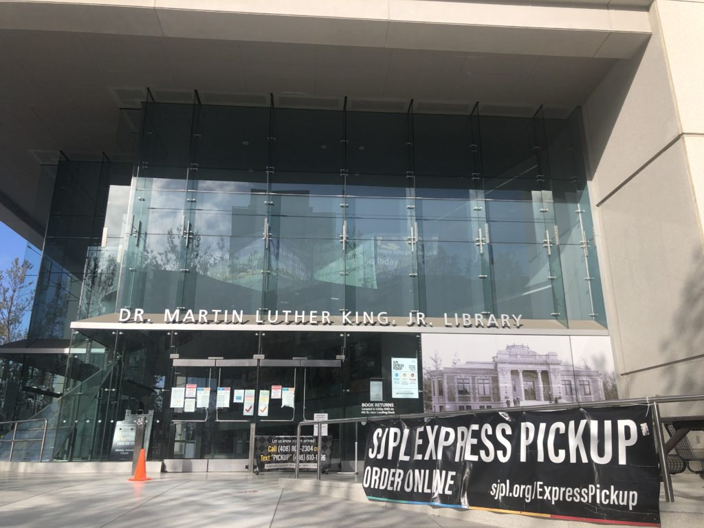 At branches of the San Jose Public Library, patrons can place books on hold at sjpl.org/ExpressPickup and pick them up Monday-Saturday from 1-6 p.m. Photo by Patricia Wei.