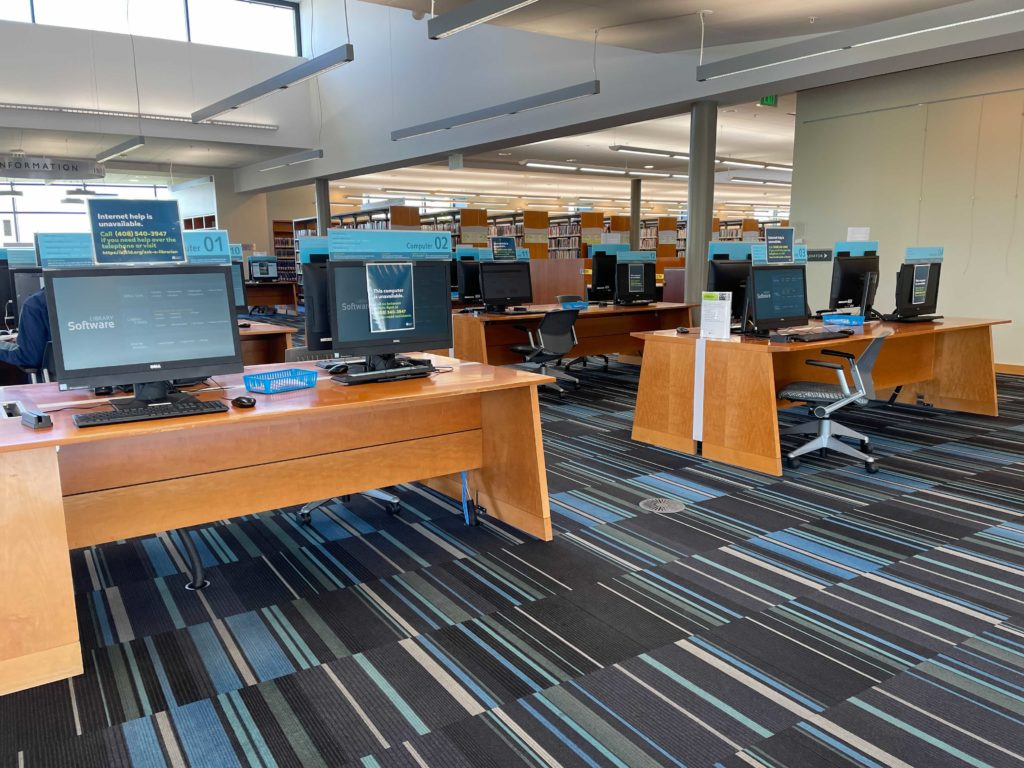 Computers at the Milpitas Library. Photo by Lloyd Alaban.