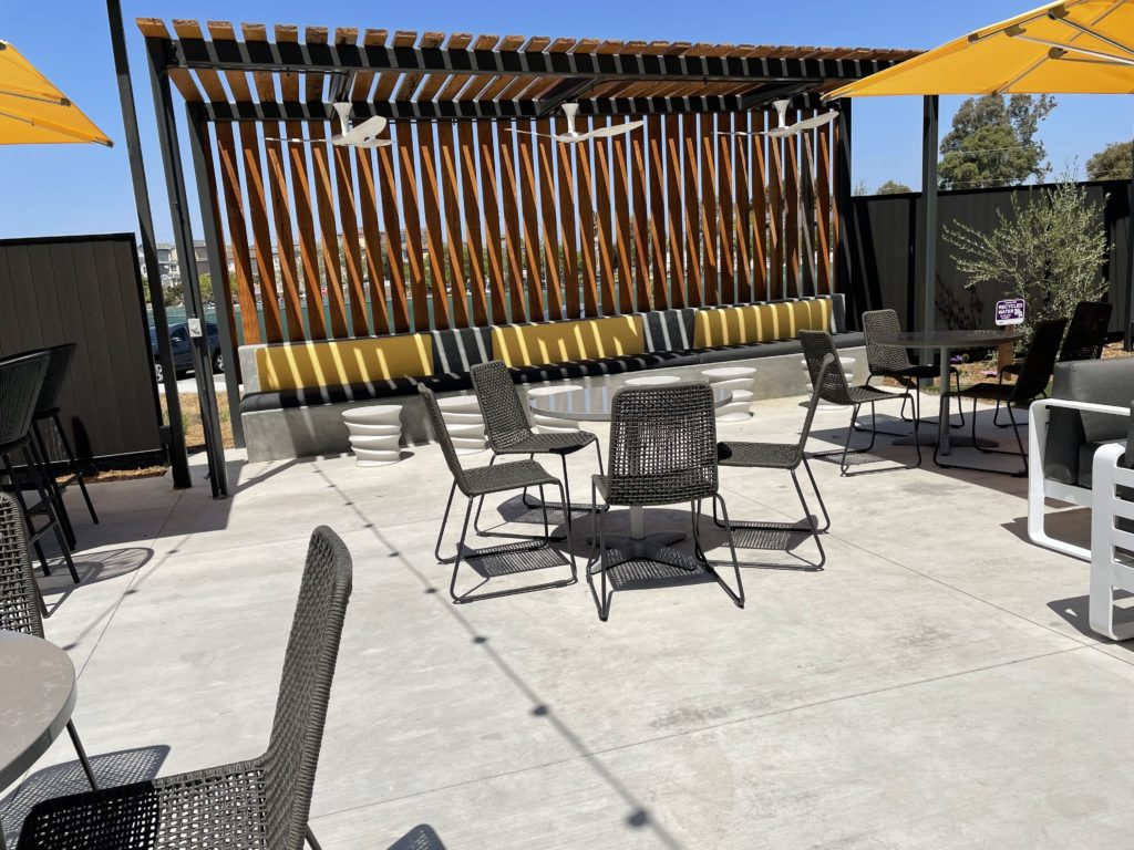 An outdoor patio overlooks Alviso. Photo by Lloyd Alaban.