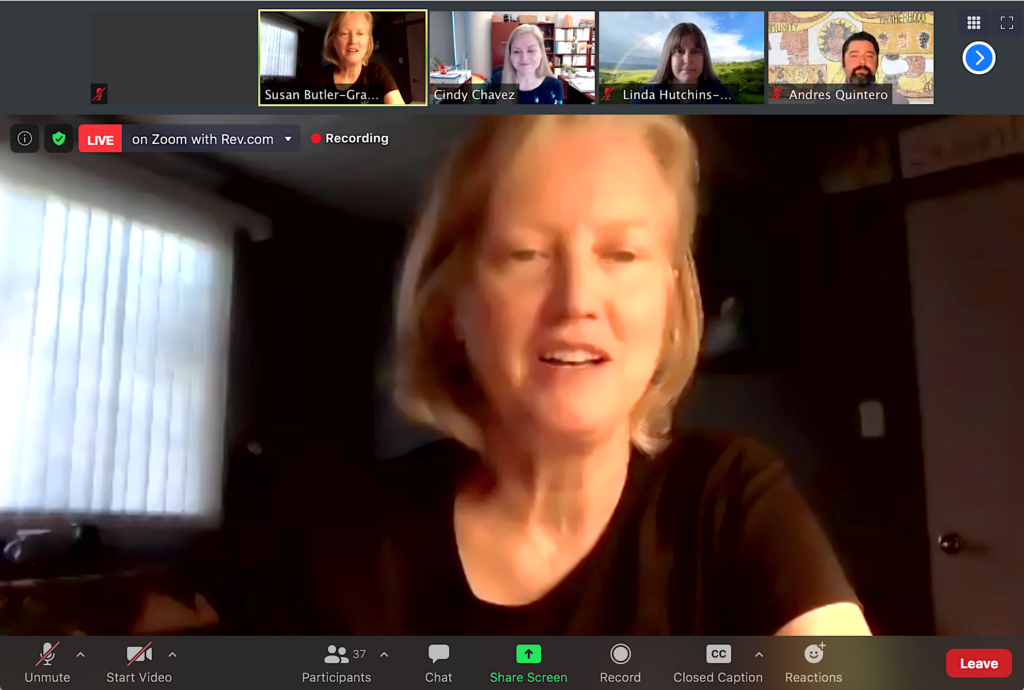 Mothers Out Front Silicon Valley team coordinator Susan Butler-Graham hosted a virtual meeting Wednesday with advocates of the Reid-Hillview Airport closure. Screenshot by Vicente Vera.